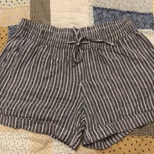 Navy Pinstriped Shorts